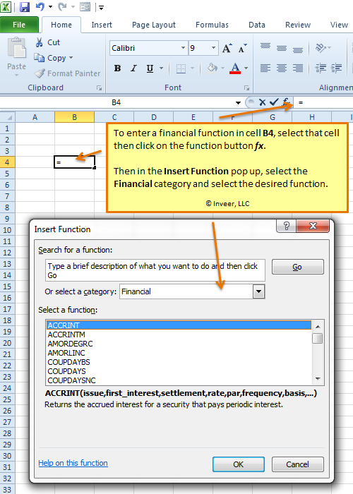 Using a Financial Excel function