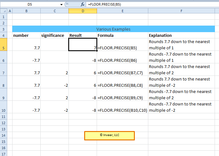 Floor precise excel math and trigonometry function for Floor function example