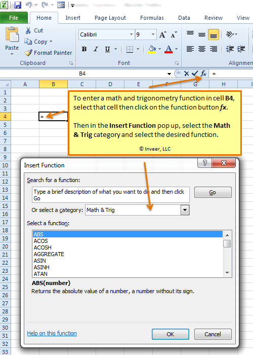 Using a Math and Trigonometry Excel function