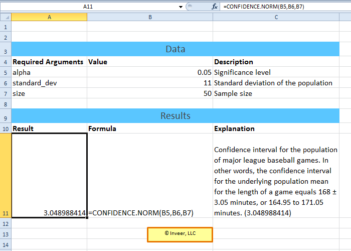 confidence norm excel statistical function